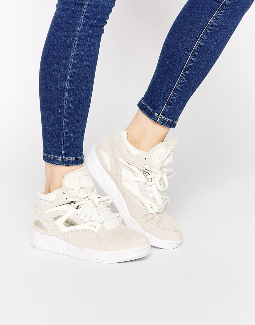 Pump Omni Lite Premium Trainers Chalk - predominant colour: ivory/cream; occasions: casual; material: leather; heel height: flat; toe: round toe; style: trainers; finish: plain; pattern: plain; shoe detail: moulded soul; season: a/w 2015; wardrobe: highlight