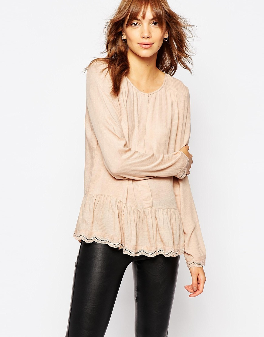 Long Sleeve Peplum Top Rose Pink - neckline: round neck; pattern: plain; style: blouse; predominant colour: nude; occasions: casual; length: standard; fibres: polyester/polyamide - stretch; fit: loose; sleeve length: long sleeve; sleeve style: standard; pattern type: fabric; texture group: jersey - stretchy/drapey; season: a/w 2015