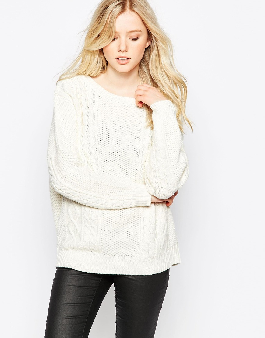 Cable Knit Jumper Pristine - neckline: round neck; style: standard; pattern: cable knit; predominant colour: ivory/cream; occasions: casual, creative work; length: standard; fibres: acrylic - mix; fit: standard fit; sleeve length: long sleeve; sleeve style: standard; texture group: knits/crochet; pattern type: knitted - fine stitch; pattern size: light/subtle; season: a/w 2015; wardrobe: highlight