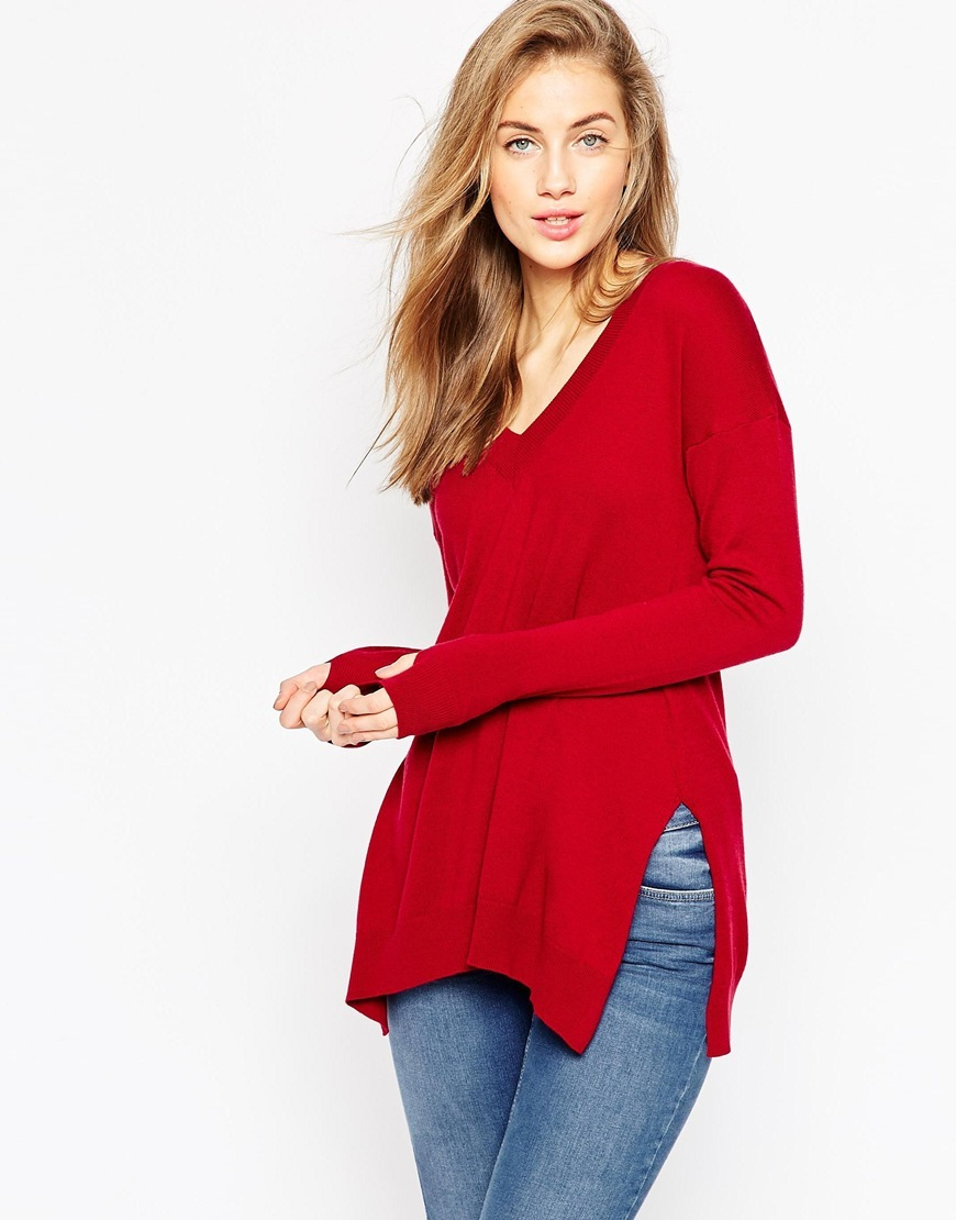 Jumper With Deep V Dark Red - neckline: low v-neck; pattern: plain; length: below the bottom; style: standard; predominant colour: true red; occasions: casual, creative work; fibres: cotton - mix; fit: standard fit; sleeve length: long sleeve; sleeve style: standard; texture group: knits/crochet; pattern type: knitted - fine stitch; season: a/w 2015; wardrobe: highlight