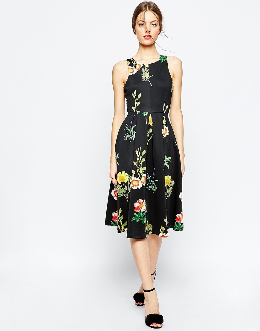 Floral Occasion Midi Dress Multi - length: below the knee; sleeve style: standard vest straps/shoulder straps; predominant colour: yellow; secondary colour: black; occasions: evening, occasion; fit: fitted at waist & bust; style: fit & flare; fibres: polyester/polyamide - mix; neckline: crew; sleeve length: sleeveless; pattern type: fabric; pattern size: standard; pattern: florals; texture group: jersey - stretchy/drapey; multicoloured: multicoloured; season: a/w 2015; wardrobe: event