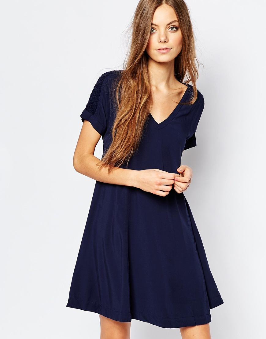 Swing Dress Blue - neckline: v-neck; pattern: plain; predominant colour: navy; occasions: evening; length: just above the knee; fit: fitted at waist & bust; style: fit & flare; fibres: viscose/rayon - 100%; sleeve length: short sleeve; sleeve style: standard; pattern type: fabric; texture group: jersey - stretchy/drapey; season: a/w 2015; wardrobe: event