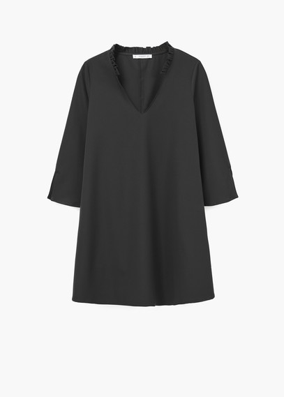 V Neckline Dress - style: shift; length: mid thigh; neckline: v-neck; pattern: plain; predominant colour: charcoal; occasions: evening, creative work; fit: soft a-line; fibres: polyester/polyamide - 100%; sleeve length: 3/4 length; sleeve style: standard; texture group: crepes; pattern type: fabric; season: a/w 2015