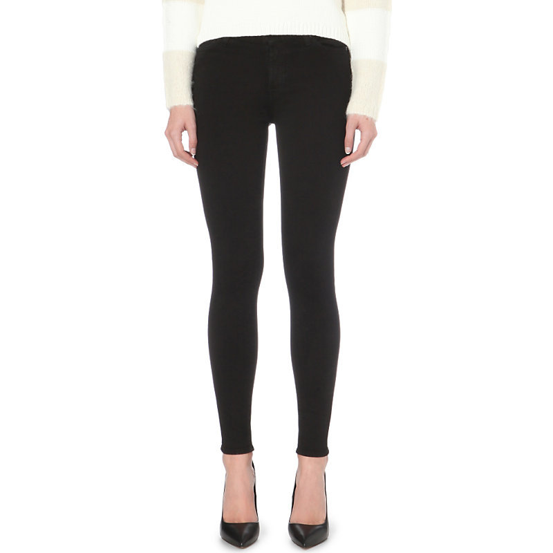 Illusion Luxe Slim Fit High Rise Jeans, Women's, Rinsed Black - style: skinny leg; pattern: plain; pocket detail: traditional 5 pocket; waist: mid/regular rise; predominant colour: black; occasions: casual, evening; length: ankle length; fibres: cotton - stretch; texture group: denim; pattern type: fabric; season: a/w 2015; wardrobe: basic