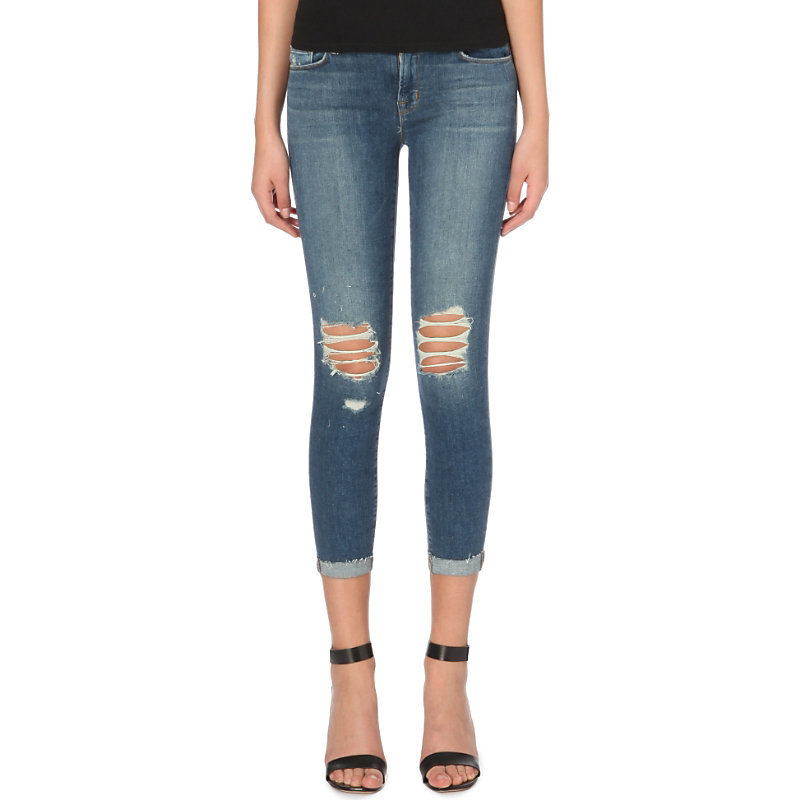 835 Capri Skinny Cropped Mid Rise Jeans, Women's, Breathless - style: skinny leg; pattern: plain; waist: low rise; pocket detail: traditional 5 pocket; predominant colour: denim; occasions: casual; length: calf length; fibres: cotton - stretch; jeans detail: whiskering, rips; jeans & bottoms detail: turn ups; texture group: denim; pattern type: fabric; season: a/w 2015; wardrobe: basic