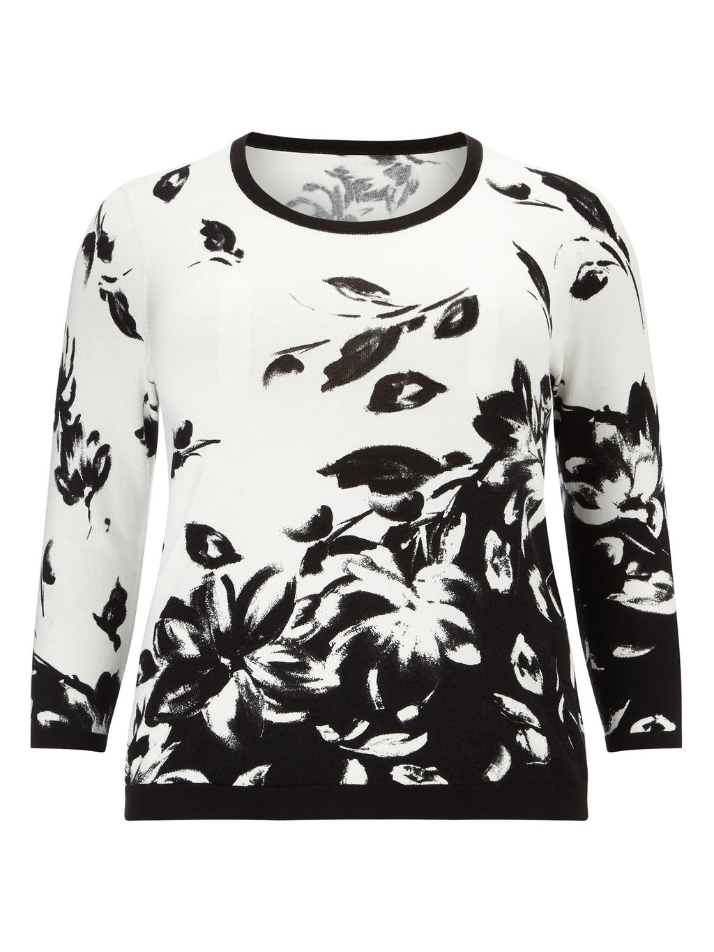 Monochrome Printed Jumper - neckline: round neck; style: standard; secondary colour: white; predominant colour: black; occasions: casual; length: standard; fit: slim fit; sleeve length: long sleeve; sleeve style: standard; trends: monochrome; texture group: knits/crochet; pattern type: fabric; pattern: florals; fibres: viscose/rayon - mix; multicoloured: multicoloured; season: a/w 2015; wardrobe: highlight