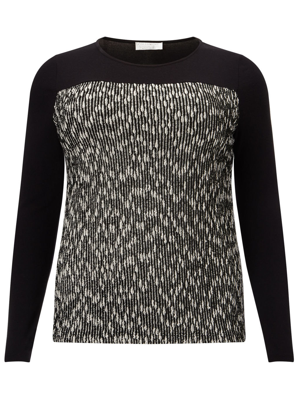 Textured Jumper - style: standard; secondary colour: mid grey; predominant colour: black; occasions: casual; length: standard; fibres: viscose/rayon - 100%; fit: tight; neckline: crew; sleeve length: long sleeve; sleeve style: standard; texture group: knits/crochet; pattern type: knitted - other; pattern size: standard; pattern: marl; multicoloured: multicoloured; season: a/w 2015; wardrobe: basic