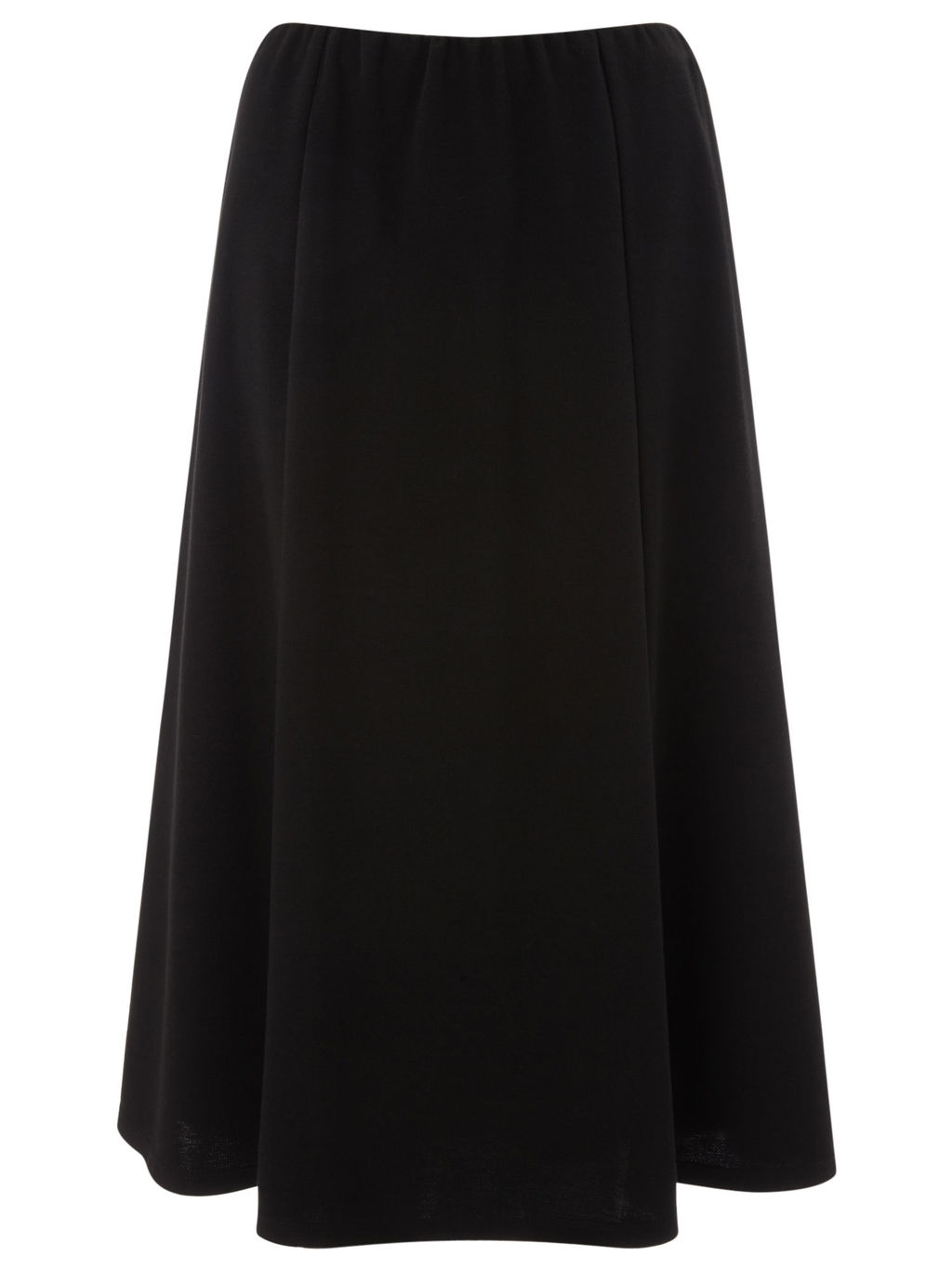 Pull On Ponte Skirt - length: calf length; pattern: plain; fit: loose/voluminous; waist detail: elasticated waist; waist: mid/regular rise; predominant colour: black; occasions: work; style: a-line; fibres: polyester/polyamide - stretch; hip detail: adds bulk at the hips; pattern type: fabric; texture group: other - light to midweight; season: a/w 2015; wardrobe: basic