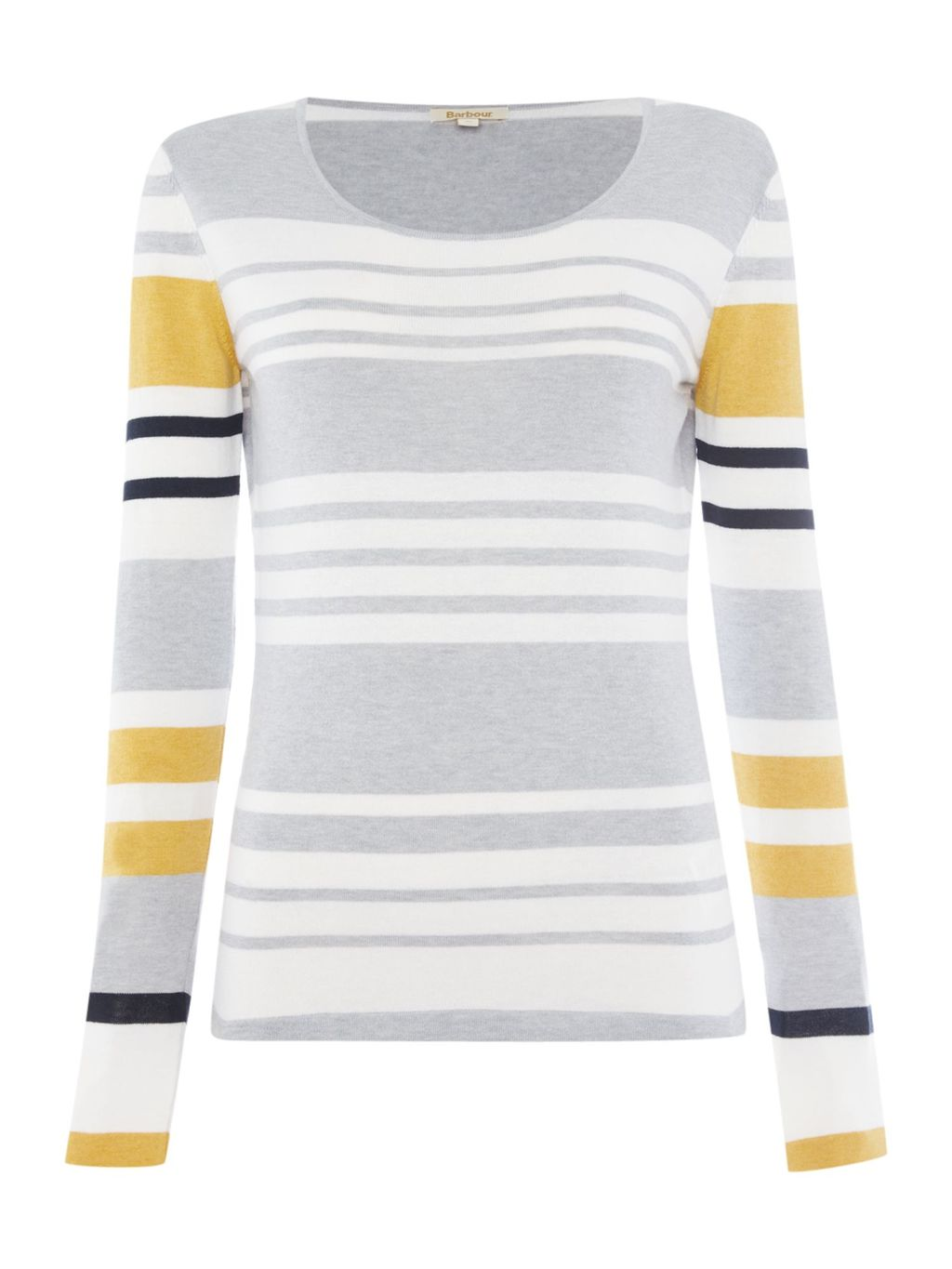 Bowline Stripe Knit Jumper, Grey - neckline: scoop neck; pattern: horizontal stripes; length: below the bottom; style: standard; secondary colour: mustard; predominant colour: light grey; occasions: casual, creative work; fibres: cotton - mix; fit: standard fit; sleeve length: long sleeve; sleeve style: standard; texture group: knits/crochet; pattern type: knitted - fine stitch; pattern size: standard; multicoloured: multicoloured; season: a/w 2015; wardrobe: highlight
