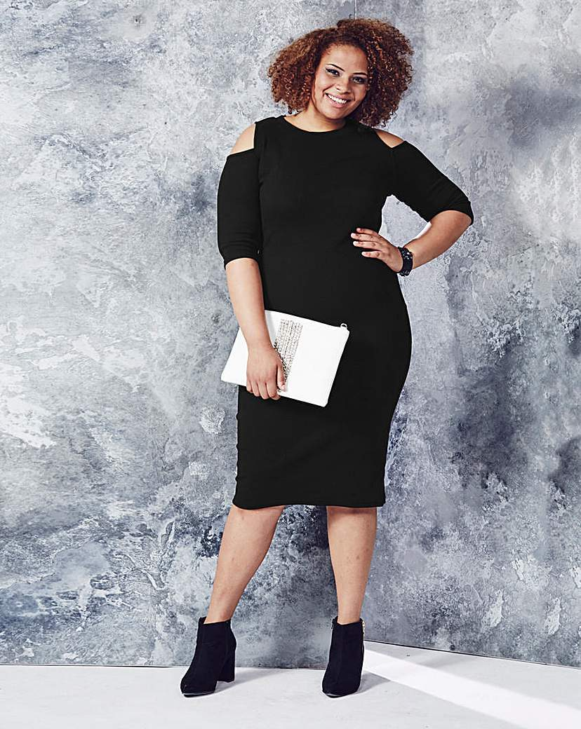Plain Ribbed Cold Shoulder Midi Dress - style: shift; length: below the knee; pattern: plain; predominant colour: black; occasions: evening; fit: body skimming; fibres: cotton - stretch; neckline: crew; shoulder detail: cut out shoulder; sleeve length: half sleeve; sleeve style: standard; texture group: jersey - clingy; pattern type: fabric; season: a/w 2015; wardrobe: event