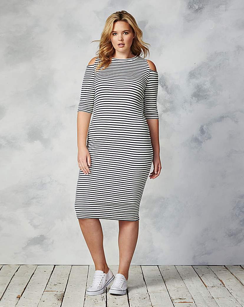 Cold Shoulder Midi Dress - style: shift; length: below the knee; pattern: horizontal stripes; secondary colour: white; predominant colour: black; occasions: evening; fit: body skimming; fibres: cotton - stretch; neckline: crew; shoulder detail: cut out shoulder; sleeve length: half sleeve; sleeve style: standard; texture group: jersey - clingy; pattern type: fabric; multicoloured: multicoloured; season: a/w 2015