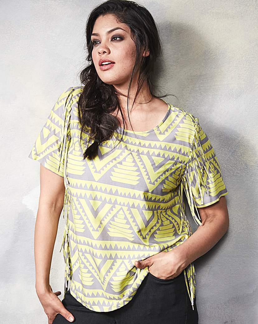 Lime Print Fringe Trim Shell Top - neckline: round neck; secondary colour: primrose yellow; predominant colour: silver; occasions: casual; length: standard; style: top; fibres: viscose/rayon - 100%; fit: body skimming; sleeve length: short sleeve; sleeve style: standard; pattern type: fabric; pattern size: standard; pattern: patterned/print; texture group: jersey - stretchy/drapey; multicoloured: multicoloured; season: a/w 2015