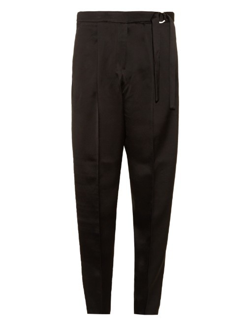 Crepe De Chine Straight Leg Trousers - pattern: plain; waist: high rise; waist detail: belted waist/tie at waist/drawstring; predominant colour: black; occasions: evening; length: ankle length; fibres: polyester/polyamide - 100%; texture group: crepes; fit: straight leg; pattern type: fabric; style: standard; season: a/w 2015; wardrobe: event