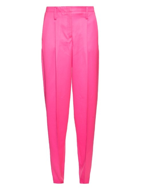 Straight Leg Wool Trousers - length: standard; pattern: plain; style: peg leg; waist: mid/regular rise; predominant colour: hot pink; fibres: wool - 100%; fit: tapered; pattern type: fabric; texture group: woven light midweight; occasions: creative work; season: a/w 2015; wardrobe: highlight