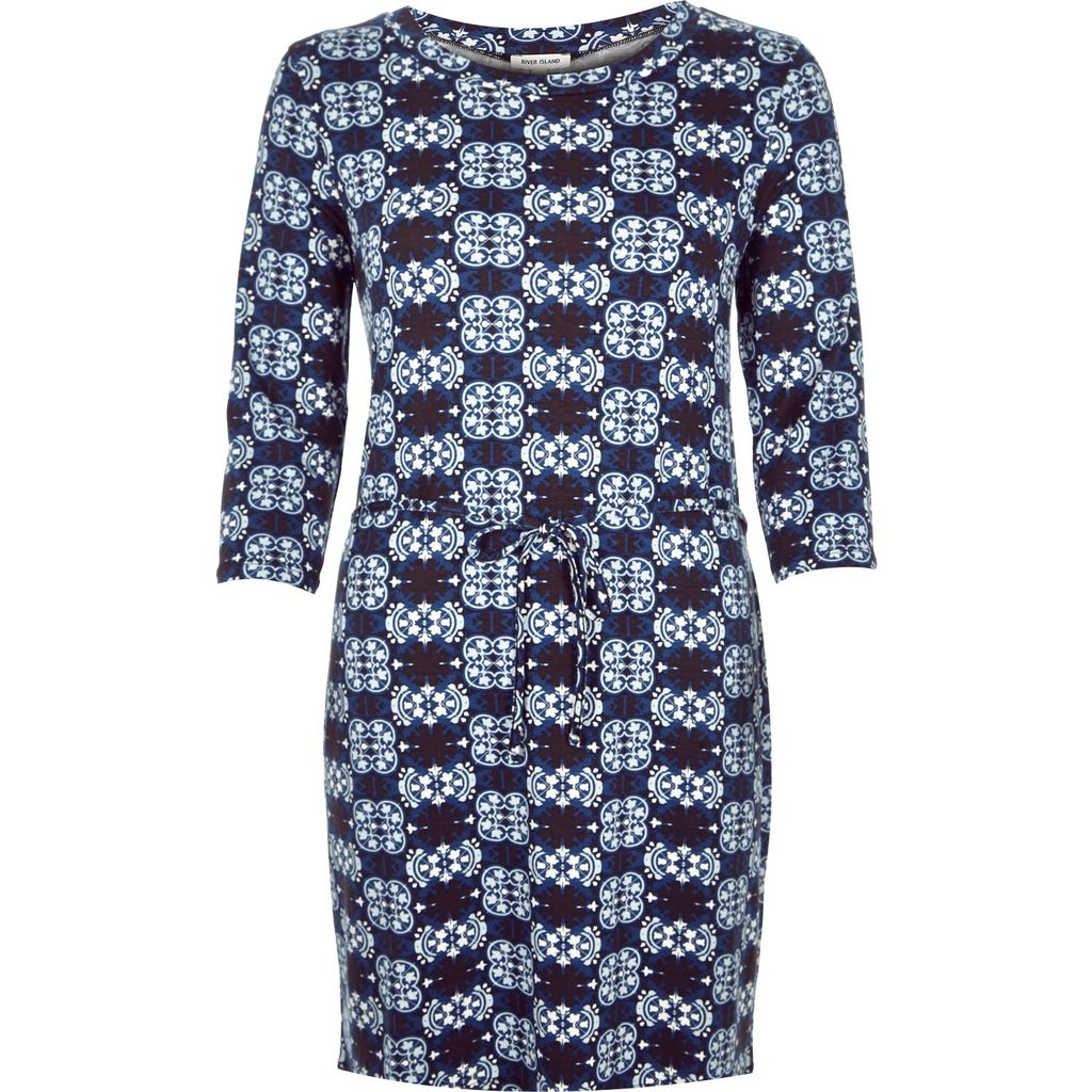Womens Blue Geometric Belted Bodycon Tunic - length: mini; fit: tight; style: bodycon; waist detail: belted waist/tie at waist/drawstring; secondary colour: pale blue; predominant colour: navy; occasions: evening; fibres: viscose/rayon - stretch; neckline: crew; sleeve length: 3/4 length; sleeve style: standard; texture group: jersey - clingy; pattern type: fabric; pattern: florals; multicoloured: multicoloured; season: a/w 2015; wardrobe: event