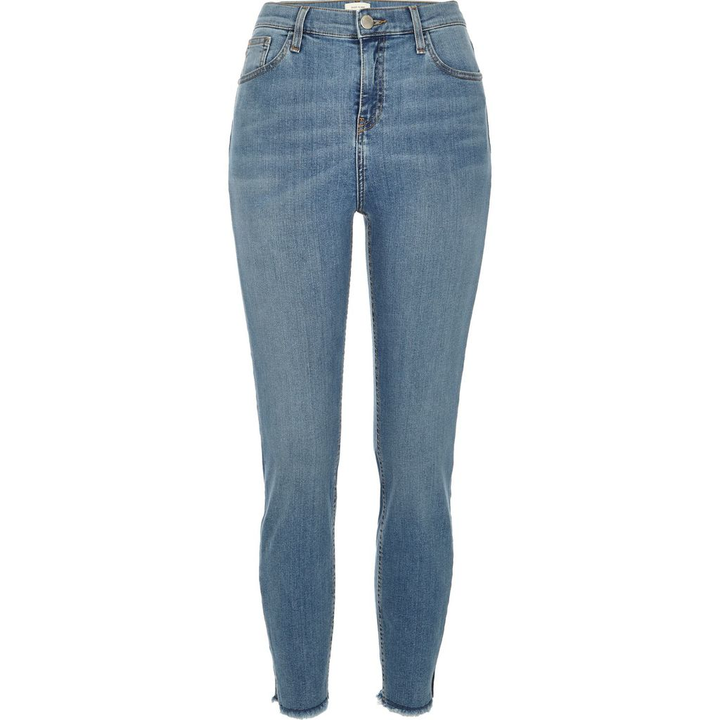 Womens Mid Wash High Rise Lori Skinny Jeans - style: skinny leg; length: standard; pattern: plain; waist: high rise; pocket detail: traditional 5 pocket; predominant colour: denim; occasions: casual; fibres: cotton - stretch; jeans detail: shading down centre of thigh; texture group: denim; pattern type: fabric; season: a/w 2015