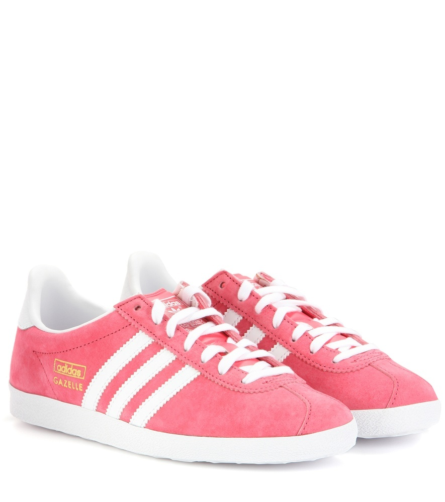 Gazelle Og Suede Sneakers - secondary colour: white; predominant colour: pink; occasions: casual; material: suede; heel height: flat; toe: round toe; style: trainers; finish: plain; pattern: striped; season: a/w 2015; wardrobe: highlight