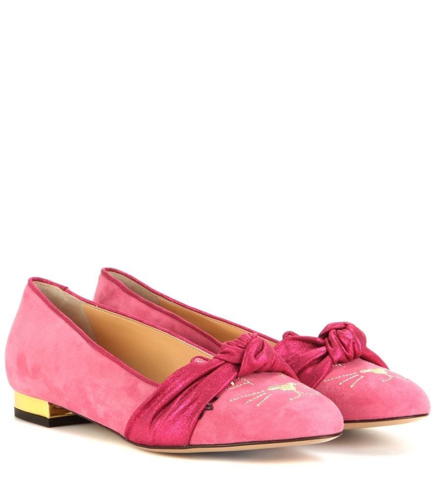 Eccentric Kitty Suede Ballerinas - predominant colour: pink; occasions: casual, creative work; material: suede; heel height: flat; toe: round toe; style: ballerinas / pumps; finish: plain; pattern: plain; embellishment: bow; season: a/w 2015; wardrobe: highlight
