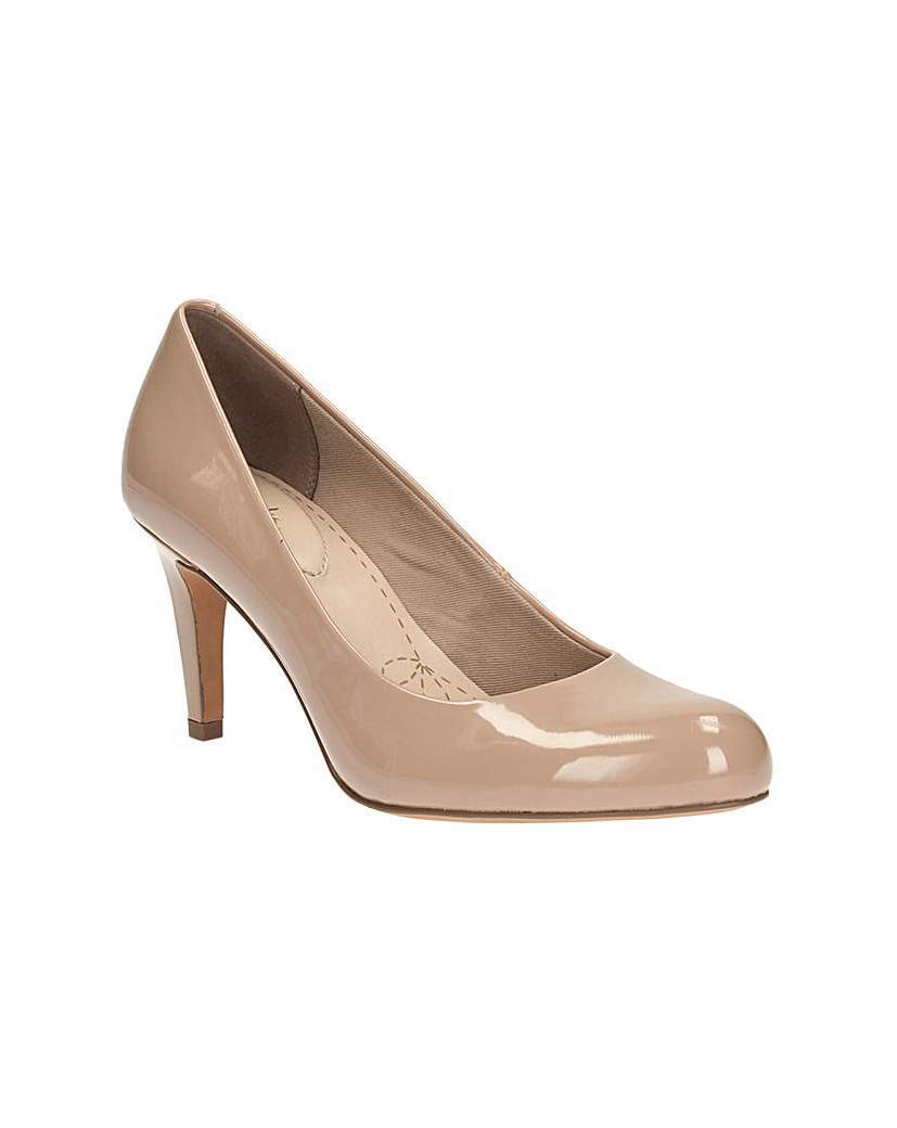 Carlita Cove Shoes - predominant colour: camel; occasions: evening, work, occasion; material: faux leather; heel height: high; heel: stiletto; toe: round toe; style: courts; finish: patent; pattern: plain; season: a/w 2015; wardrobe: investment
