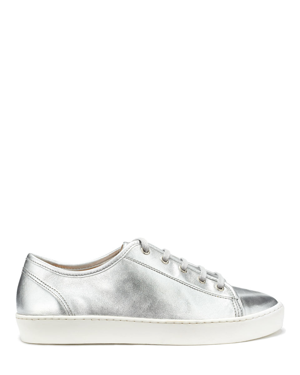 Ayda Leather Trainers - predominant colour: silver; occasions: casual, creative work; material: leather; heel height: flat; toe: round toe; style: trainers; finish: metallic; pattern: plain; shoe detail: moulded soul; season: a/w 2015