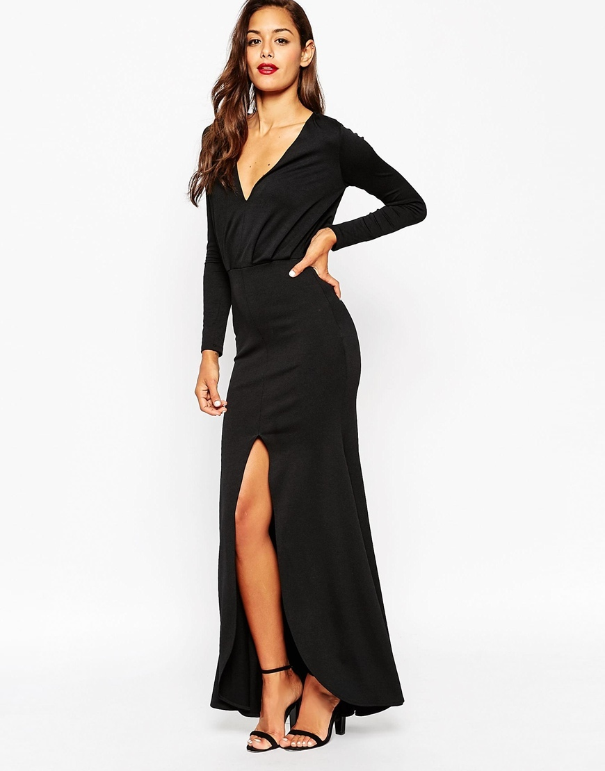 Crepe Deep Plunge Fishtail Maxi Dress With Split Black - neckline: low v-neck; pattern: plain; style: maxi dress; predominant colour: black; occasions: evening, occasion; length: floor length; fit: body skimming; fibres: polyester/polyamide - stretch; sleeve length: long sleeve; sleeve style: standard; pattern type: fabric; texture group: jersey - stretchy/drapey; season: a/w 2015; wardrobe: event
