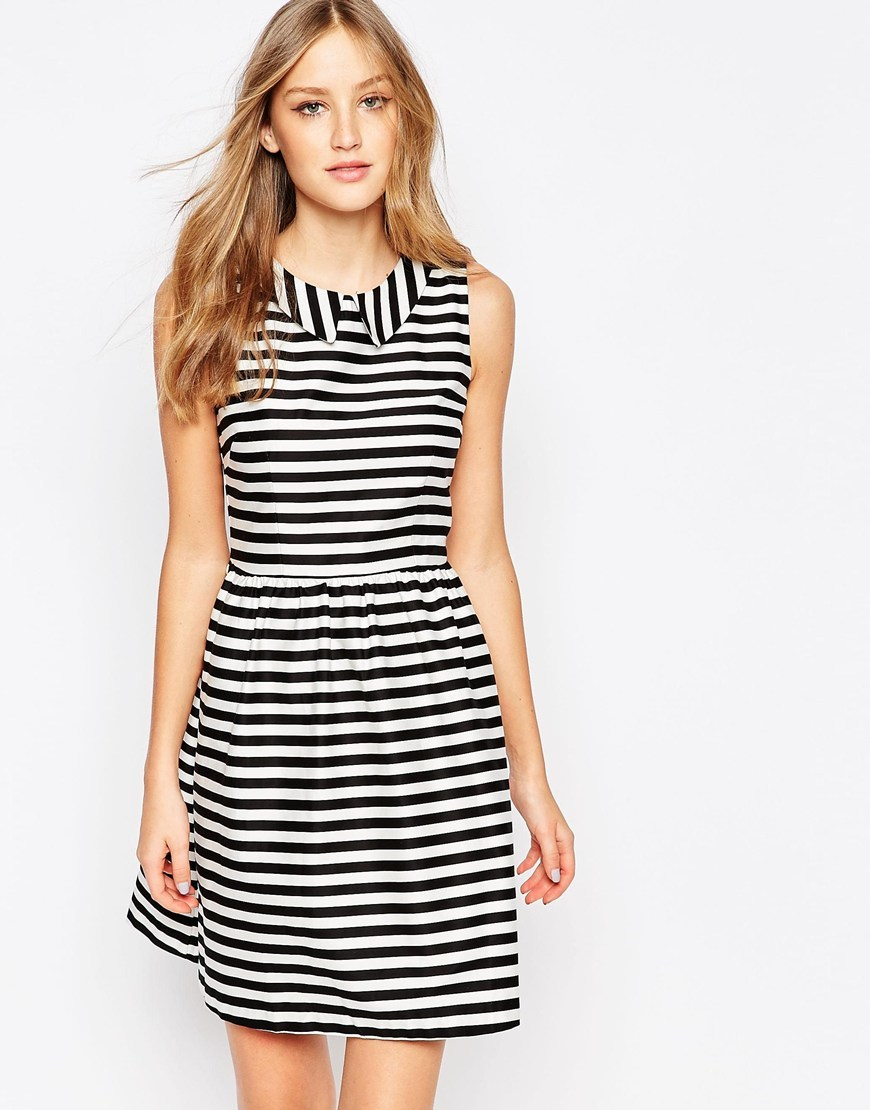 Skater Dress In Stripe Black/White - style: shift; pattern: horizontal stripes; sleeve style: sleeveless; secondary colour: white; predominant colour: black; occasions: evening, occasion, creative work; length: just above the knee; fit: soft a-line; fibres: cotton - mix; neckline: no opening/shirt collar/peter pan; sleeve length: sleeveless; texture group: sheer fabrics/chiffon/organza etc.; pattern type: fabric; pattern size: standard; season: a/w 2015; wardrobe: highlight