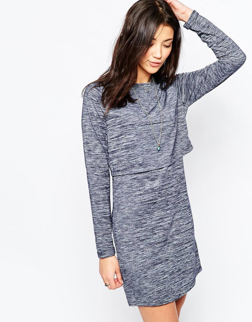 Long Sleeve Jersey Dress With Cross Back Navy - style: shift; length: mid thigh; pattern: plain; bust detail: ruching/gathering/draping/layers/pintuck pleats at bust; predominant colour: mid grey; secondary colour: mid grey; occasions: casual; fit: body skimming; fibres: polyester/polyamide - stretch; neckline: crew; sleeve length: long sleeve; sleeve style: standard; pattern type: fabric; texture group: jersey - stretchy/drapey; season: a/w 2015