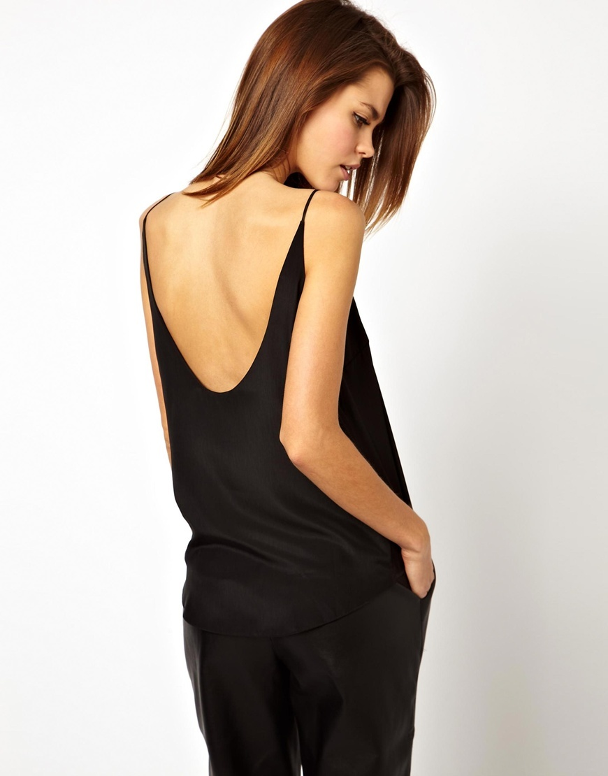 Scoop Back Cami Top Black - neckline: round neck; sleeve style: spaghetti straps; pattern: plain; style: camisole; predominant colour: black; occasions: casual, creative work; length: standard; fibres: viscose/rayon - 100%; fit: straight cut; sleeve length: sleeveless; pattern type: fabric; texture group: other - light to midweight; season: a/w 2015