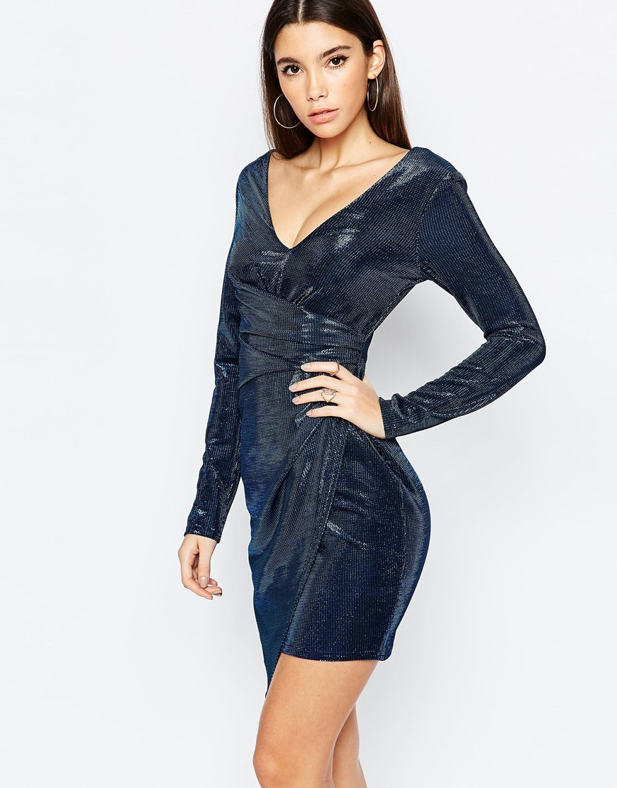 Metallic Textured Plunge Mini Dress With Ruched Side Navy - style: shift; length: mid thigh; neckline: low v-neck; pattern: plain; predominant colour: navy; occasions: evening, occasion; fit: body skimming; fibres: polyester/polyamide - stretch; sleeve length: long sleeve; sleeve style: standard; texture group: lycra/elastane mixes; pattern type: fabric; season: a/w 2015; wardrobe: event