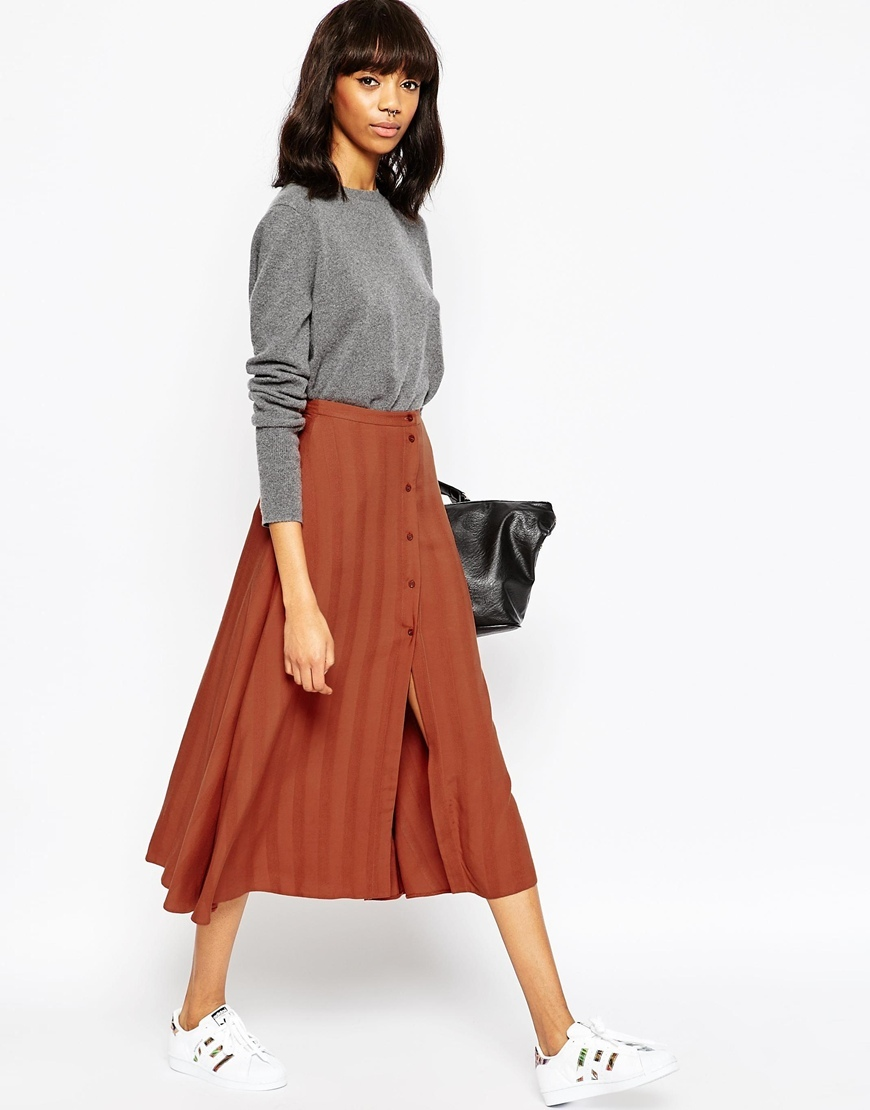 Midi Skirt With Button Through In Self Stripe Rust - length: below the knee; pattern: vertical stripes; fit: loose/voluminous; waist: high rise; predominant colour: terracotta; occasions: casual, creative work; style: a-line; fibres: viscose/rayon - 100%; pattern type: fabric; texture group: other - light to midweight; pattern size: light/subtle (bottom); season: a/w 2015