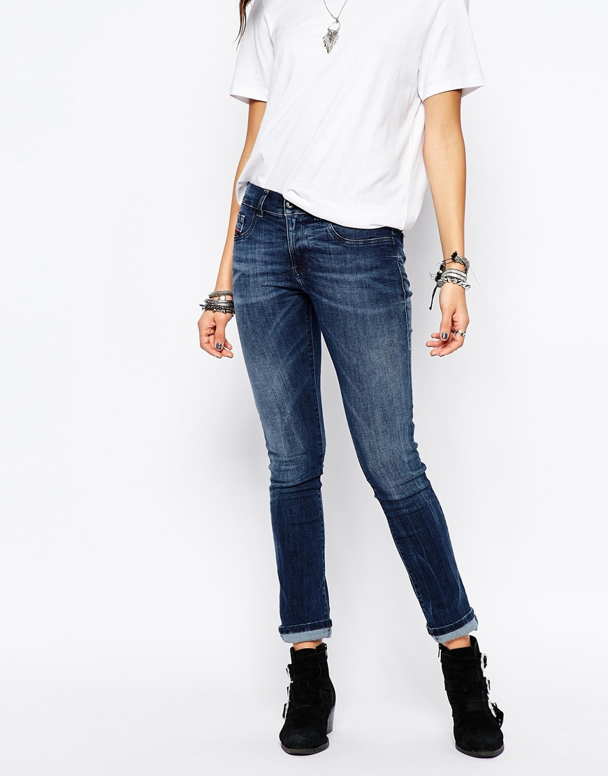 Livier Low Rise Skinny Jeans Blue - style: skinny leg; length: standard; pattern: plain; waist: high rise; pocket detail: traditional 5 pocket; predominant colour: denim; occasions: casual; fibres: cotton - stretch; jeans detail: whiskering, shading down centre of thigh; texture group: denim; pattern type: fabric; season: a/w 2015