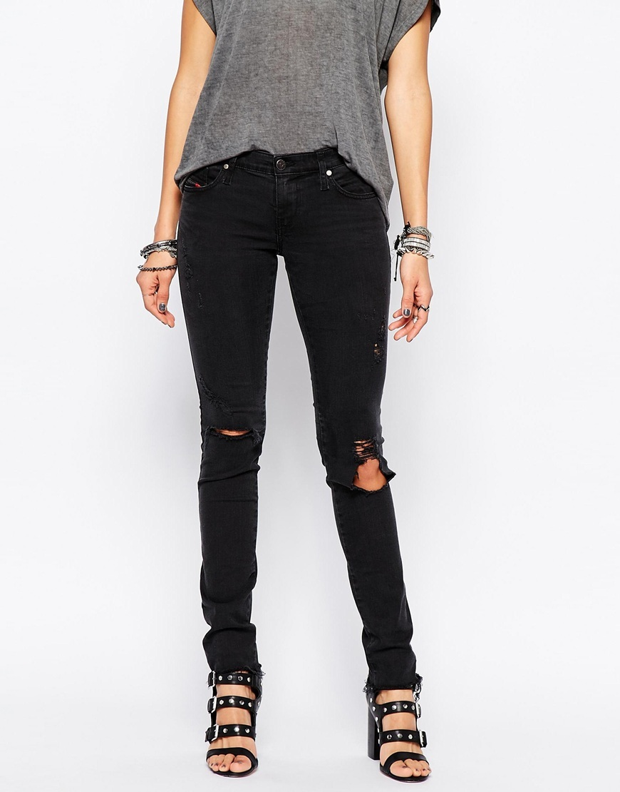 Skinzee Low Rise Super Skinny Jeans With Distressing Blue - style: skinny leg; length: standard; pattern: plain; pocket detail: traditional 5 pocket; waist: mid/regular rise; predominant colour: navy; occasions: casual; fibres: cotton - stretch; jeans detail: dark wash, rips; texture group: denim; pattern type: fabric; season: a/w 2015; wardrobe: basic