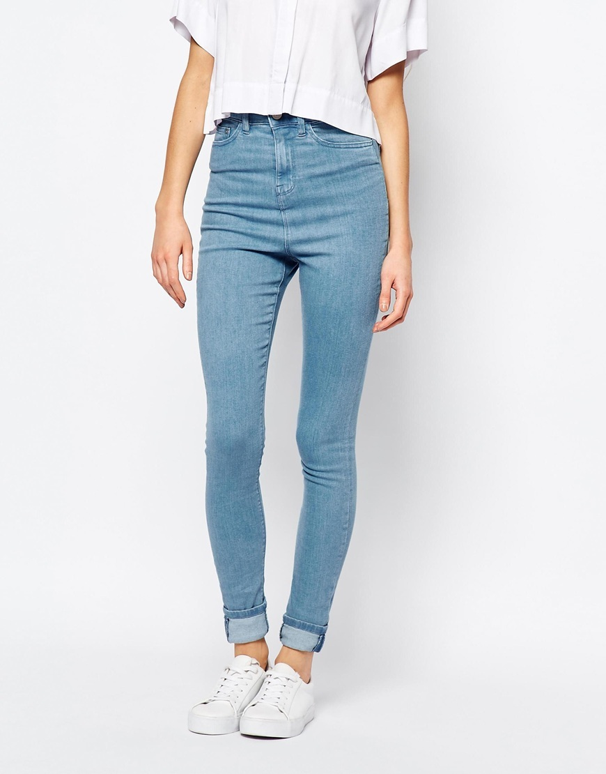 Anika High Waist Skinny Jeans True Blue - style: skinny leg; length: standard; pattern: plain; waist: high rise; predominant colour: pale blue; occasions: casual; fibres: cotton - stretch; texture group: denim; pattern type: fabric; season: a/w 2015; wardrobe: basic