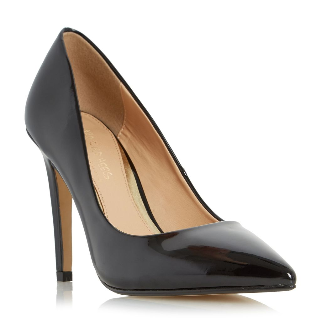 Addyson Square Heel Pointed Courts, Black - predominant colour: black; occasions: evening, occasion; material: faux leather; heel height: high; heel: stiletto; toe: pointed toe; style: courts; finish: patent; pattern: plain; season: a/w 2015; wardrobe: event