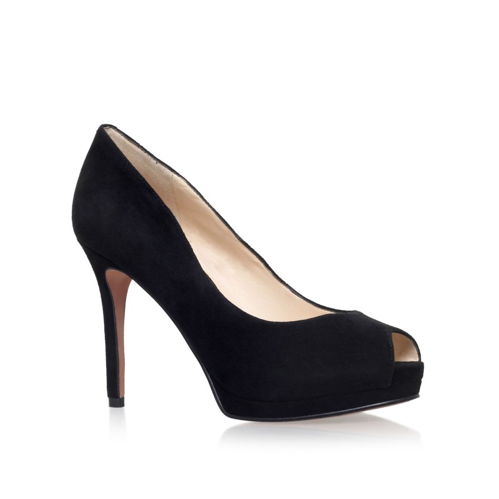 Firstbase Peep Toe Court Shoes, Black - predominant colour: black; occasions: evening, occasion; material: suede; heel height: high; heel: stiletto; toe: open toe/peeptoe; style: courts; finish: plain; pattern: plain; season: a/w 2015; wardrobe: event