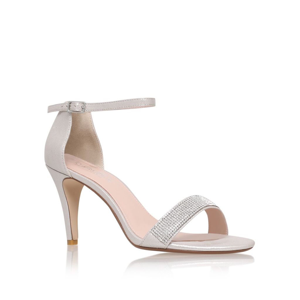 Kiwi High Heel Strappy Sandals, Silver - predominant colour: silver; occasions: evening, occasion; material: faux leather; heel height: high; embellishment: glitter; heel: stiletto; toe: open toe/peeptoe; style: strappy; finish: metallic; pattern: plain; season: a/w 2015; wardrobe: event