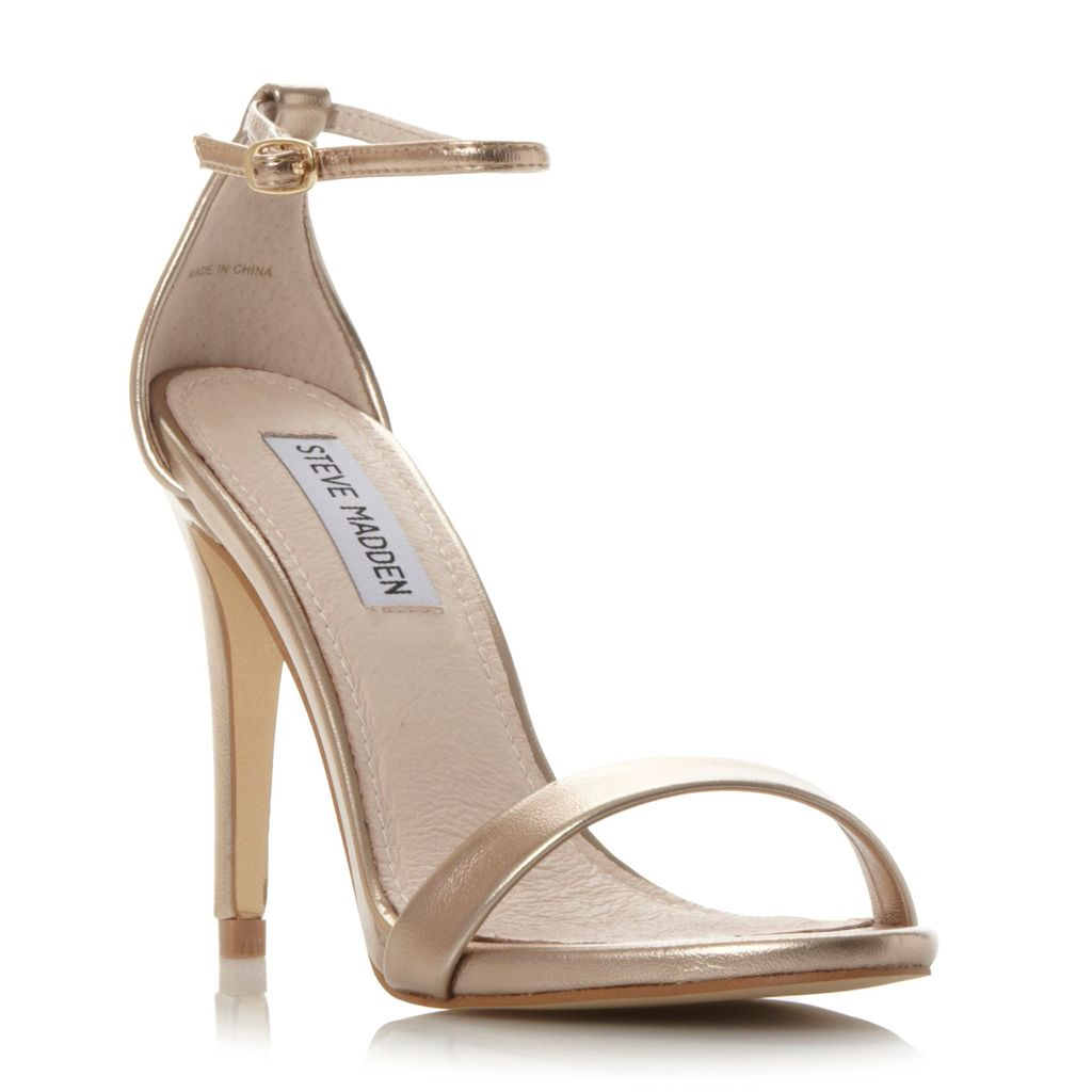 Stecy Two Part Heeled Sandals, Metallic - predominant colour: gold; occasions: evening, occasion; material: faux leather; heel height: high; ankle detail: ankle strap; heel: stiletto; toe: open toe/peeptoe; style: strappy; finish: metallic; pattern: plain; season: a/w 2015; wardrobe: event