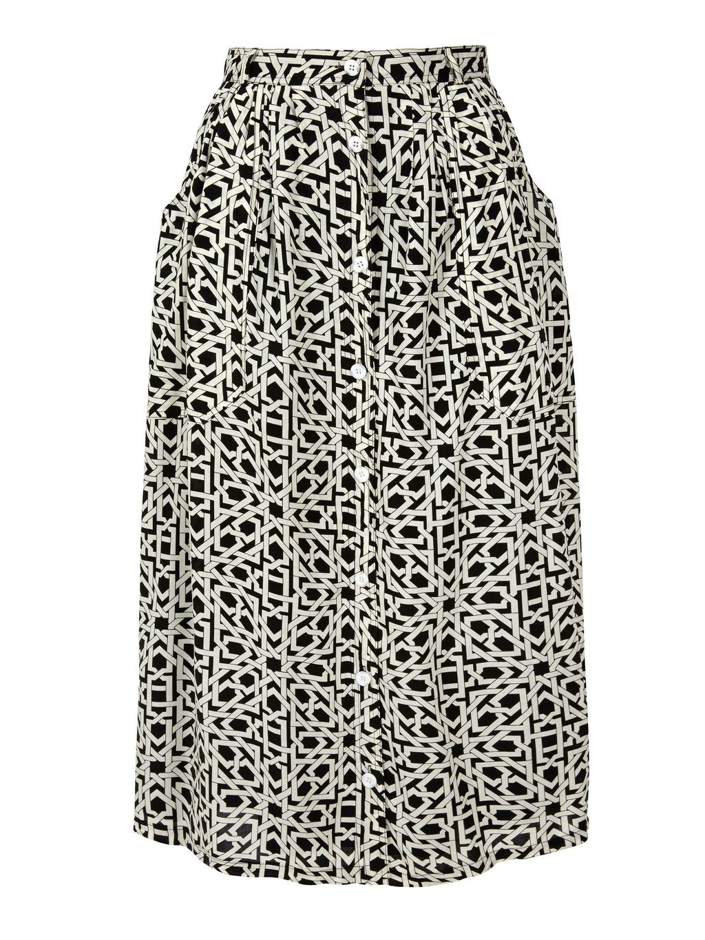 Geo Print Button Through Midi Skirt, Black/White - fit: loose/voluminous; waist: high rise; secondary colour: white; predominant colour: black; length: on the knee; style: a-line; fibres: viscose/rayon - 100%; pattern type: fabric; pattern: patterned/print; texture group: other - light to midweight; occasions: creative work; pattern size: standard (bottom); season: a/w 2015; wardrobe: highlight