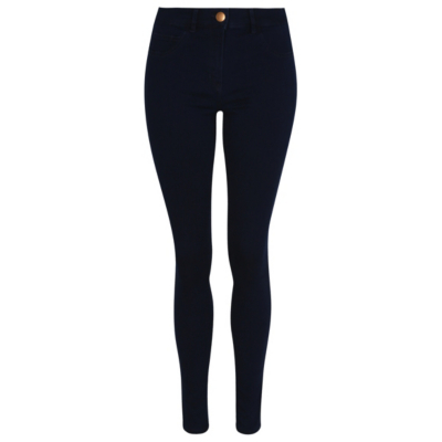 Wonderfit Skinny Jeans Indigo Dark Denim - style: skinny leg; length: standard; pattern: plain; waist: high rise; pocket detail: traditional 5 pocket; predominant colour: navy; occasions: casual; fibres: cotton - stretch; jeans detail: dark wash; texture group: denim; pattern type: fabric; season: a/w 2015; wardrobe: basic