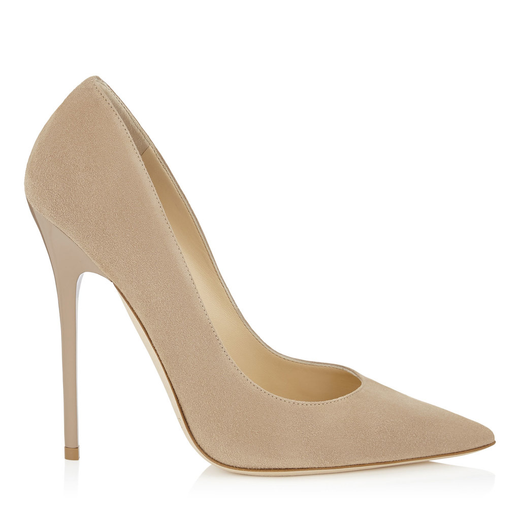 Anouk Nude Suede Pointy Toe Pumps - predominant colour: stone; occasions: evening, occasion; material: suede; heel: stiletto; toe: pointed toe; style: courts; finish: plain; pattern: plain; heel height: very high; season: a/w 2015; wardrobe: event