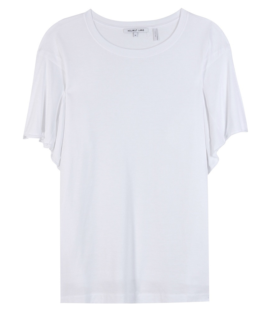 Cotton Blend T Shirt - neckline: round neck; pattern: plain; style: t-shirt; predominant colour: white; occasions: casual; length: standard; fibres: cotton - mix; fit: body skimming; sleeve length: short sleeve; sleeve style: standard; pattern type: fabric; texture group: jersey - stretchy/drapey; season: a/w 2015; wardrobe: basic