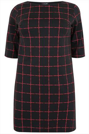 Black And Red Checked Print Dress With 3/4 Length Sleeves - style: shift; pattern: checked/gingham; predominant colour: true red; secondary colour: black; occasions: casual, creative work; length: just above the knee; fit: straight cut; fibres: polyester/polyamide - stretch; neckline: crew; sleeve length: half sleeve; sleeve style: standard; pattern type: fabric; pattern size: standard; texture group: woven light midweight; season: a/w 2015; wardrobe: highlight