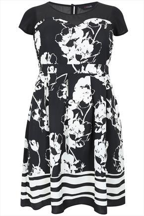 Black & White Blurred Rose Print Midi Dress With Chiffon Yoke - sleeve style: capped; secondary colour: white; predominant colour: black; occasions: evening, occasion; length: just above the knee; fit: fitted at waist & bust; style: fit & flare; fibres: polyester/polyamide - 100%; neckline: crew; back detail: keyhole/peephole detail at back; sleeve length: short sleeve; pattern type: fabric; pattern size: big & busy; pattern: florals; texture group: jersey - stretchy/drapey; season: a/w 2015; wardrobe: event