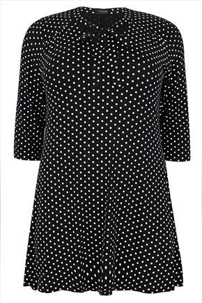Black & White Polka Dot Longline Swing Top With Soft Neck Tie - length: below the bottom; neckline: pussy bow; pattern: polka dot; secondary colour: white; predominant colour: black; occasions: casual; style: top; fibres: polyester/polyamide - mix; fit: straight cut; sleeve length: 3/4 length; sleeve style: standard; pattern type: fabric; pattern size: standard; texture group: jersey - stretchy/drapey; season: a/w 2015; wardrobe: highlight