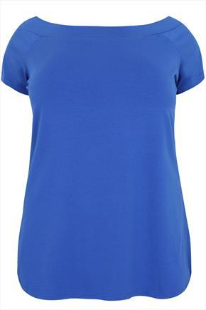 Blue Plain Jersey Bardot Top With Short Sleeves - neckline: slash/boat neckline; sleeve style: capped; pattern: plain; predominant colour: diva blue; occasions: casual, creative work; length: standard; style: top; fibres: polyester/polyamide - 100%; fit: loose; sleeve length: short sleeve; pattern type: fabric; texture group: jersey - stretchy/drapey; season: a/w 2015; wardrobe: highlight