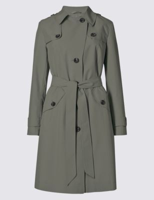 Belted Mac With Stormwear™ - pattern: plain; style: trench coat; collar: standard lapel/rever collar; length: mid thigh; predominant colour: charcoal; occasions: casual, creative work; fit: tailored/fitted; fibres: polyester/polyamide - 100%; waist detail: belted waist/tie at waist/drawstring; back detail: back vent/flap at back; sleeve length: long sleeve; sleeve style: standard; collar break: medium; pattern type: fabric; texture group: woven light midweight; season: a/w 2015