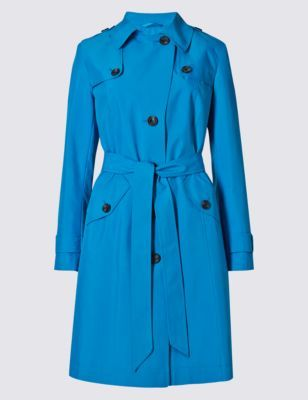 Belted Trench With Stormwear™ - pattern: plain; style: trench coat; collar: standard lapel/rever collar; length: mid thigh; predominant colour: diva blue; occasions: casual, creative work; fit: tailored/fitted; fibres: polyester/polyamide - 100%; waist detail: belted waist/tie at waist/drawstring; sleeve length: long sleeve; sleeve style: standard; collar break: medium; pattern type: fabric; texture group: woven light midweight; season: a/w 2015; wardrobe: highlight