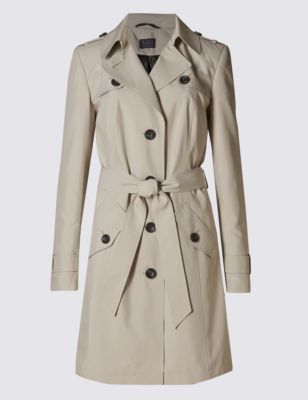 Belted Mac With Stormwear™ - pattern: plain; style: trench coat; collar: standard lapel/rever collar; length: mid thigh; predominant colour: stone; occasions: casual, creative work; fit: tailored/fitted; fibres: polyester/polyamide - 100%; waist detail: belted waist/tie at waist/drawstring; sleeve length: long sleeve; sleeve style: standard; collar break: medium; pattern type: fabric; texture group: woven light midweight; season: a/w 2015; trends: modern utility, brilliant basics