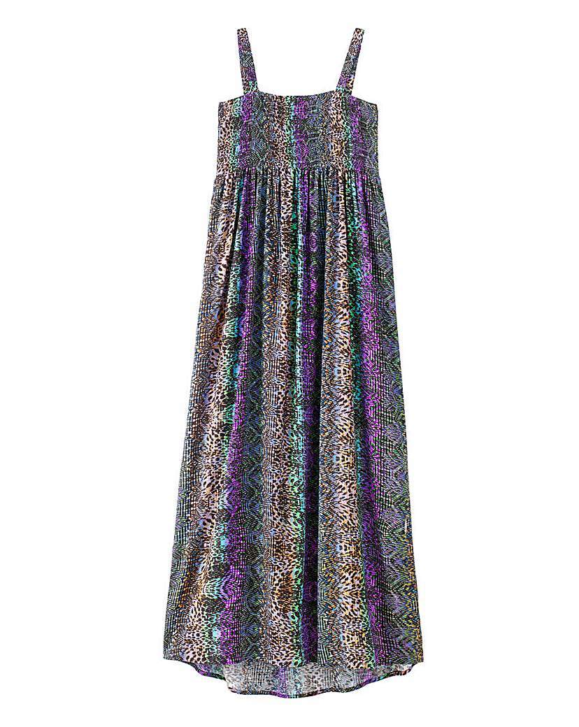 Shirred Maxi Dress - style: smock; sleeve style: spaghetti straps; fit: empire; length: ankle length; bust detail: ruching/gathering/draping/layers/pintuck pleats at bust; predominant colour: purple; secondary colour: aubergine; occasions: casual; fibres: polyester/polyamide - stretch; sleeve length: sleeveless; neckline: low square neck; pattern type: fabric; pattern size: light/subtle; pattern: patterned/print; texture group: jersey - stretchy/drapey; season: a/w 2015