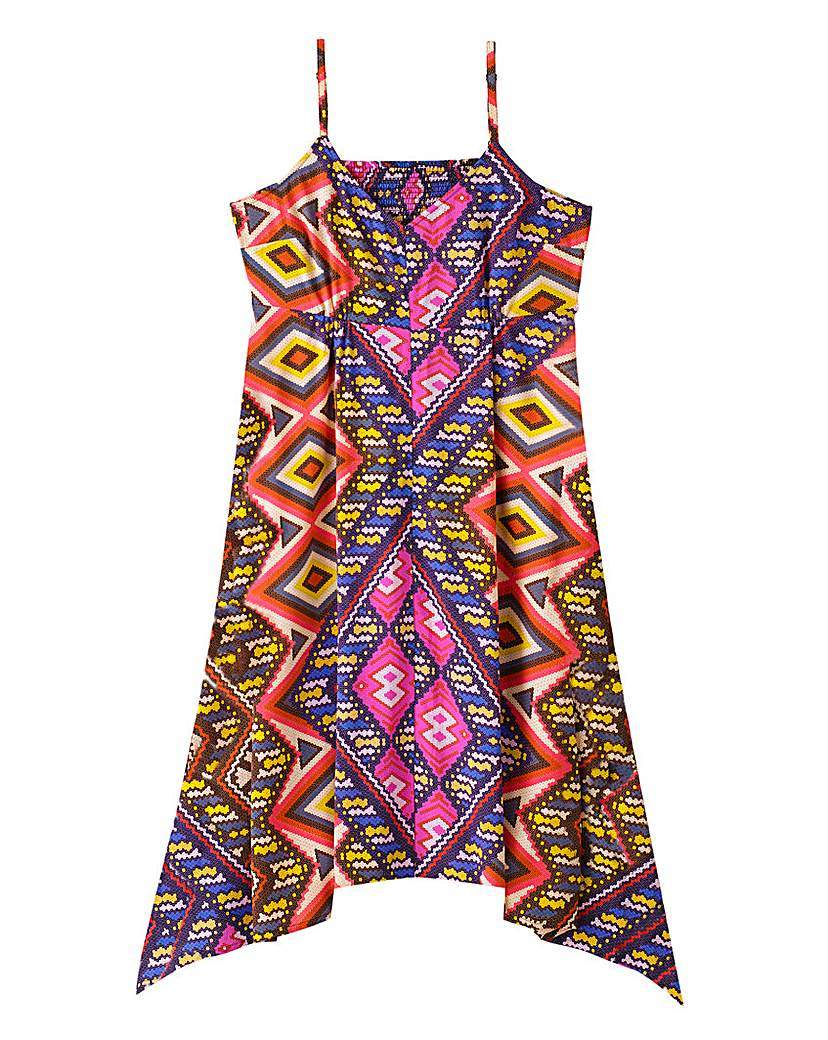 Print Strappy Hanky Hem Dress - length: mid thigh; sleeve style: spaghetti straps; fit: empire; style: sundress; predominant colour: purple; secondary colour: yellow; occasions: casual; fibres: polyester/polyamide - 100%; sleeve length: sleeveless; neckline: low square neck; pattern type: fabric; pattern size: big & busy; pattern: patterned/print; texture group: jersey - stretchy/drapey; season: a/w 2015; wardrobe: highlight